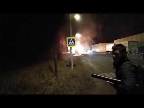 Сгорел автобус в Пушкино.