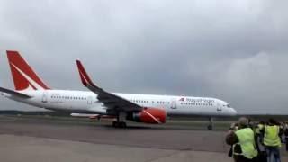 Взлет Boeing 757-200 АК Royal Flight из Аэропорта Домодедово ВПП 32R
