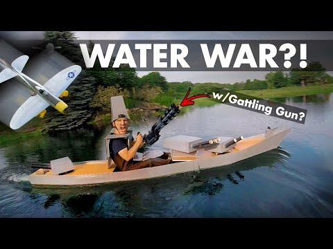 Water War?! Foamboard Boat+Gatling Gun VS Dive-bombers