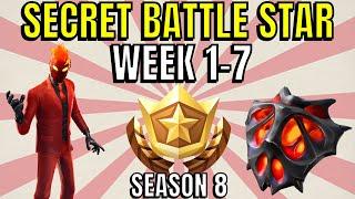 ALL Fortnite season 8 Secret Battle Star Locations week 1 to 7 - Season 8