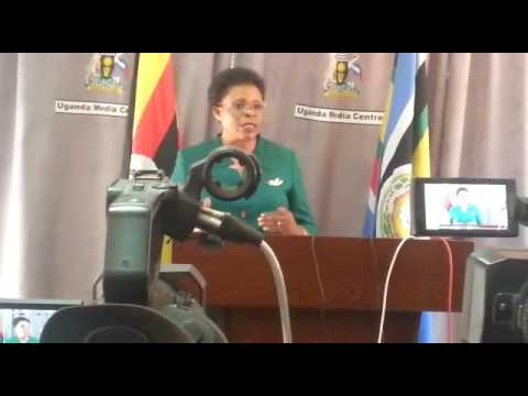 Kampala Minister Beti Kamya addressing journalists at Media Centre