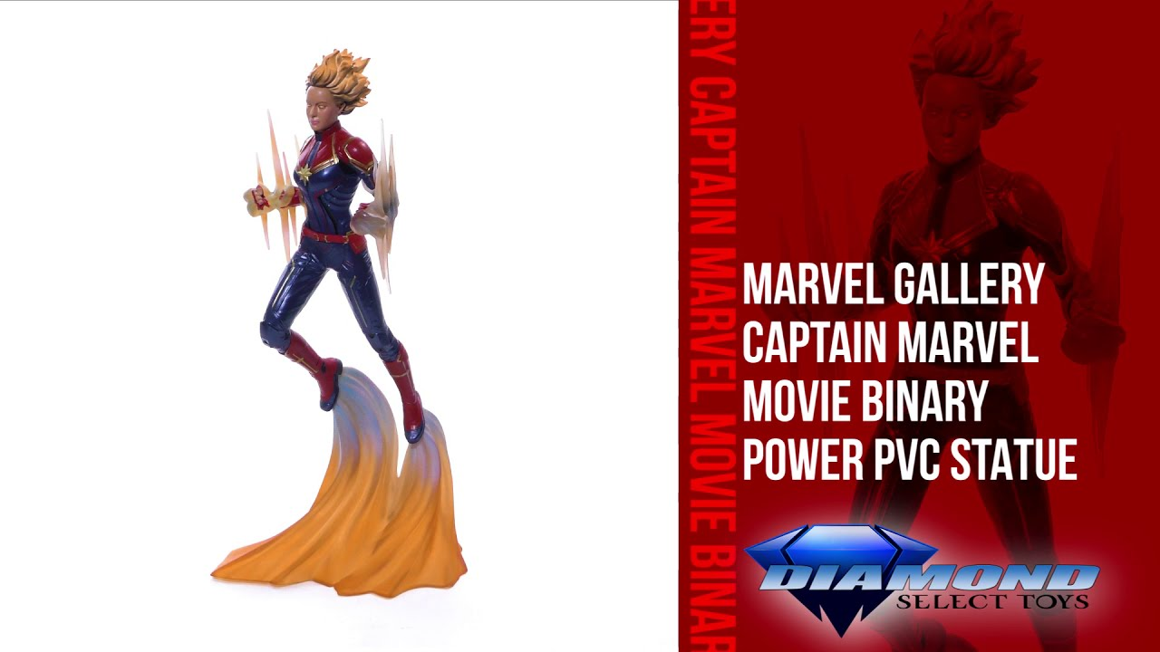 Marvel Movie Gallery Captain Marvel Binary Power PVC Diorama Unboxing + 360