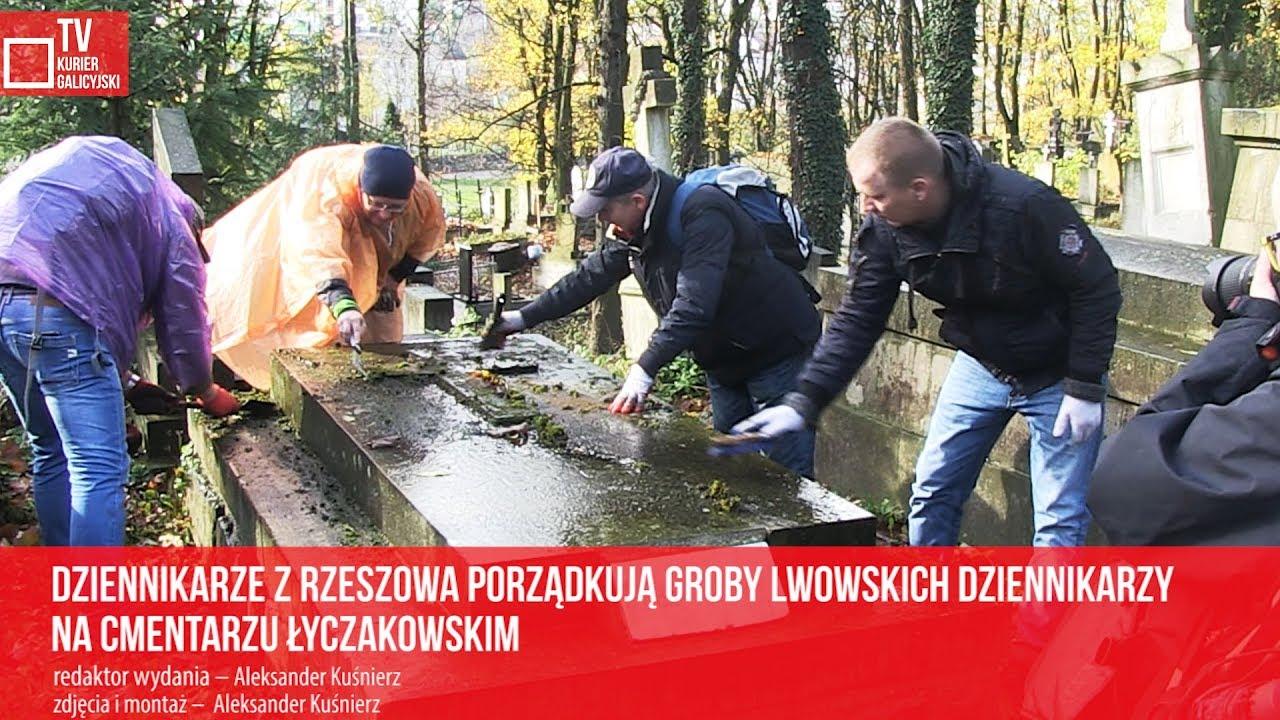 Dziennikarze z Rzeszowa porządkują groby lwowskich dziennikarzy na cmentarzu Łyczakowskim