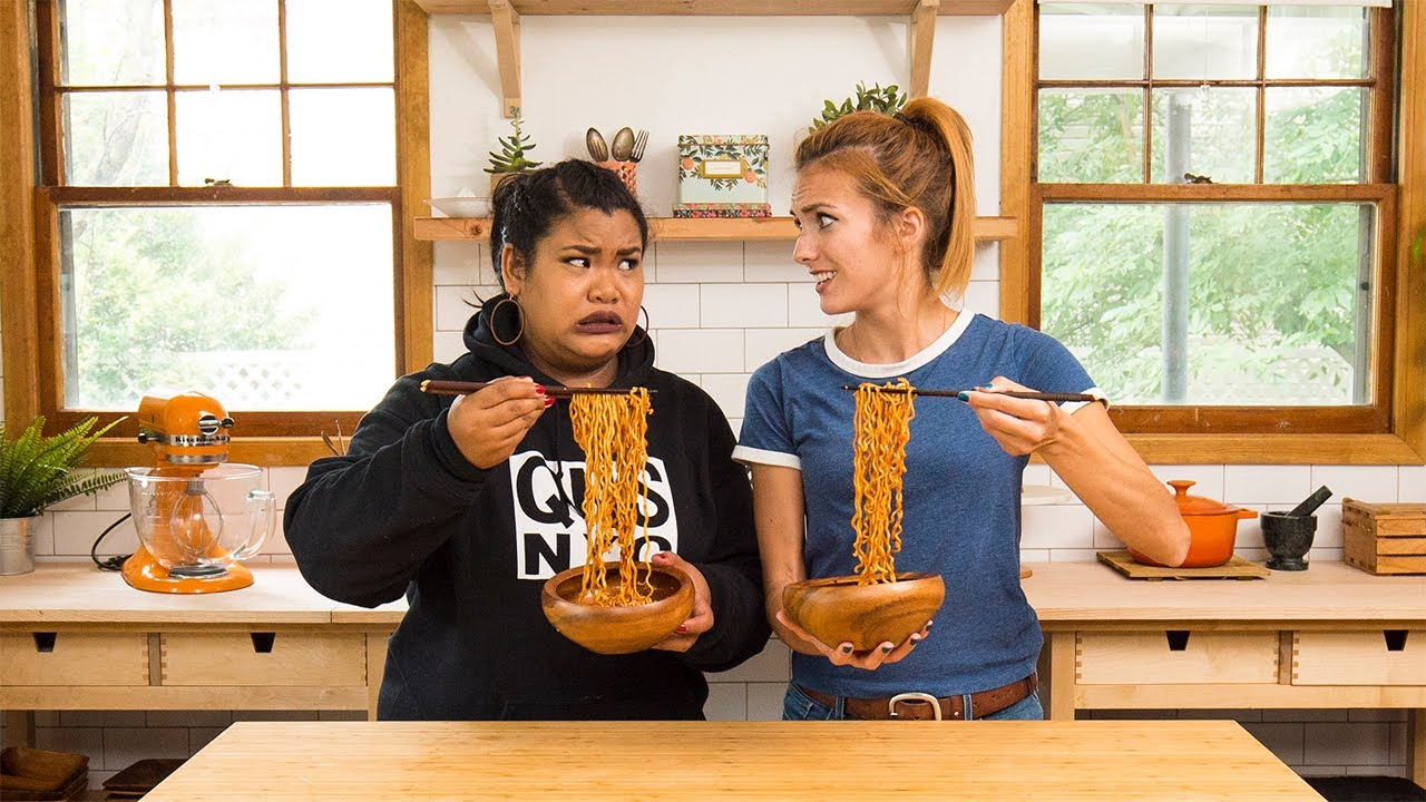 SPICY NOODLES CHALLENGE with Jen Phanomrat and Julie Nolke