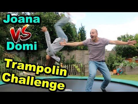 TRAMPOLIN CHALLENGE !! Joana turnt vor - Joana VS Dominik - JoJo Joana