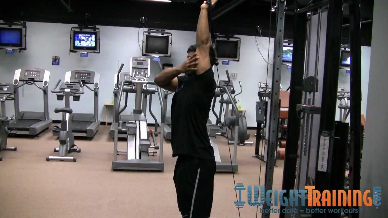 One-Arm Overhead Cable Tricep Extension - YouTube