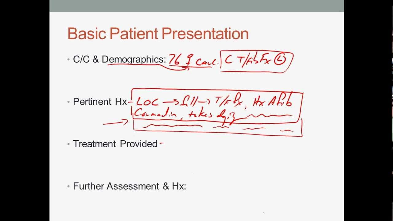 EMS Patient narrative and presentation