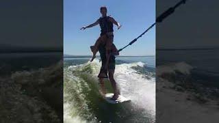 Boat Surfing Duo || ViralHog