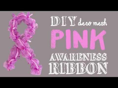 Pink Deco Mesh Awareness Ribbon