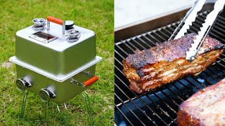 Homemade Charcoal Barbecue Grill for Camping - BBQ Smoker