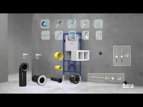 plumber work roca wall hung wc with flash tenk fiting for 3d