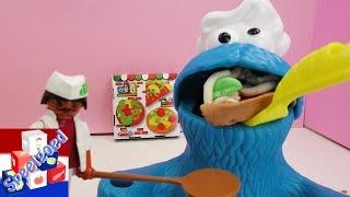 Koekiemonster Eet Play Doh Klei Met De Playmobil Pizzabakker