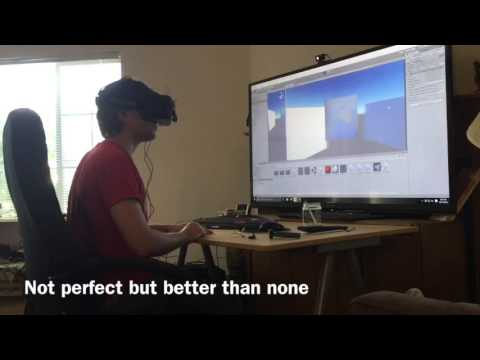 VR depth perception with two headset cameras