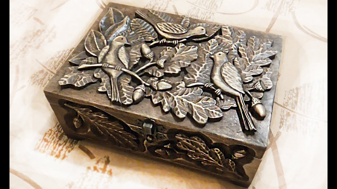 Wood Carving Large Carved Casket With Birds In The Trees
