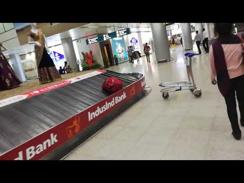 At Hyderabad airport after taking the luggage off the tramp