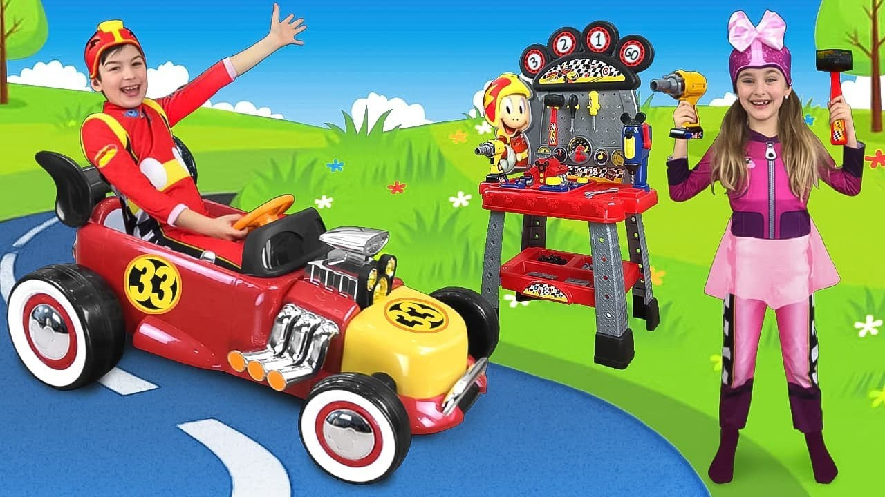 Max and Sasha Ride on Mickey Mouse Toy Car & make new Toys