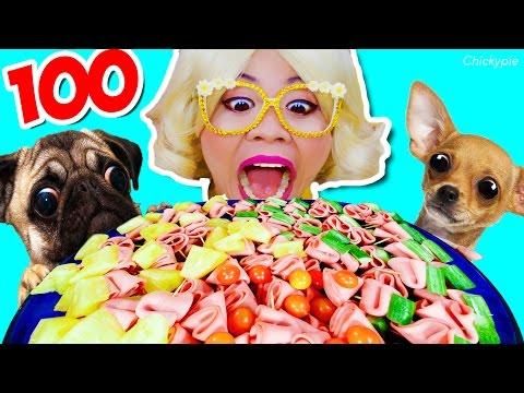 หมา ปั๊ก และ ชิวาว่า กับ ชิคกี้พาย กิน แฮม 100 ไม้ | กินกับหมา กินจุ กินโชว์