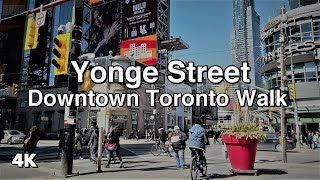 Downtown Toronto Yonge Street Walk - Queen to Bloor 2019 [4K]
