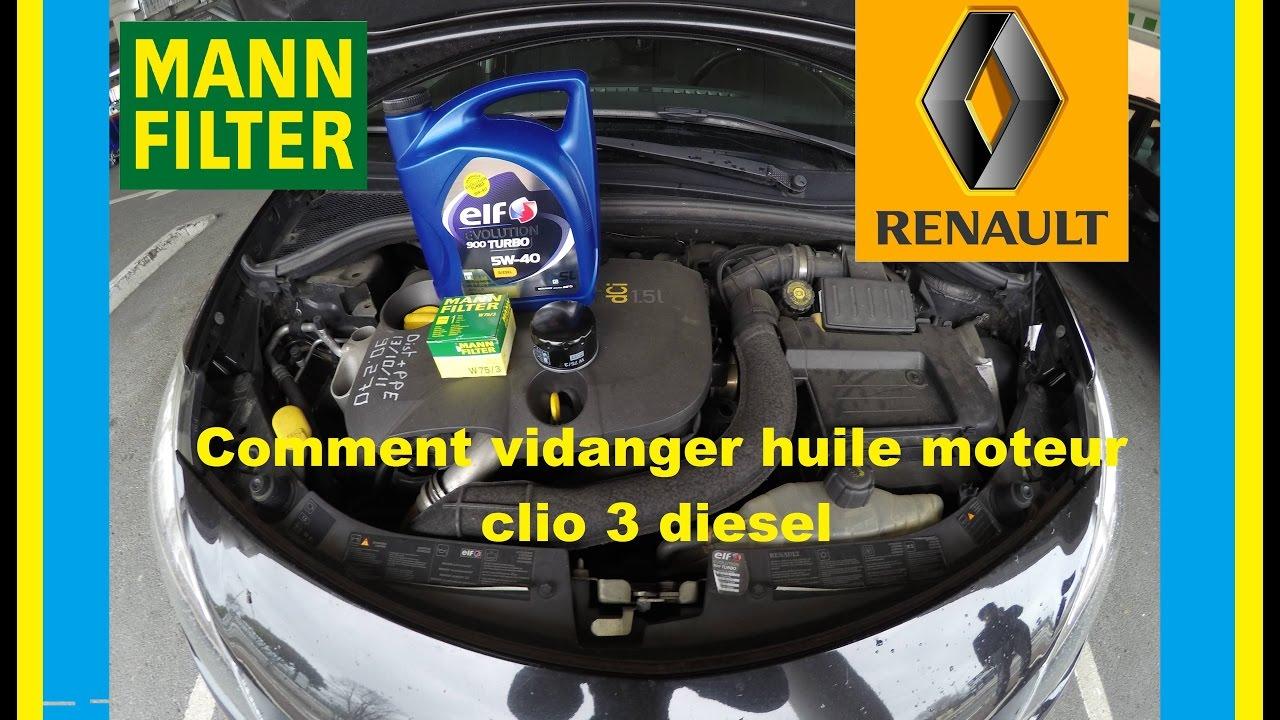 vidange moteur filtre huile clio 3 dci 85 cv youtube