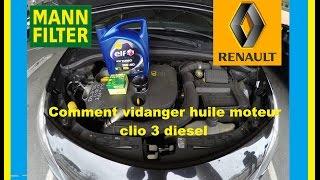Vidange moteur + filtre à huile Clio 3 dci 85 CV