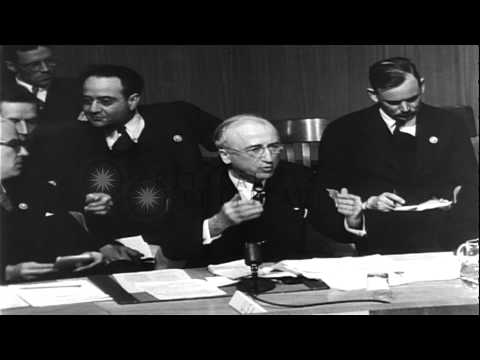 James F. Byrnes urges that the Iranians be given a chance to speak at the U.N...HD Stock Footage