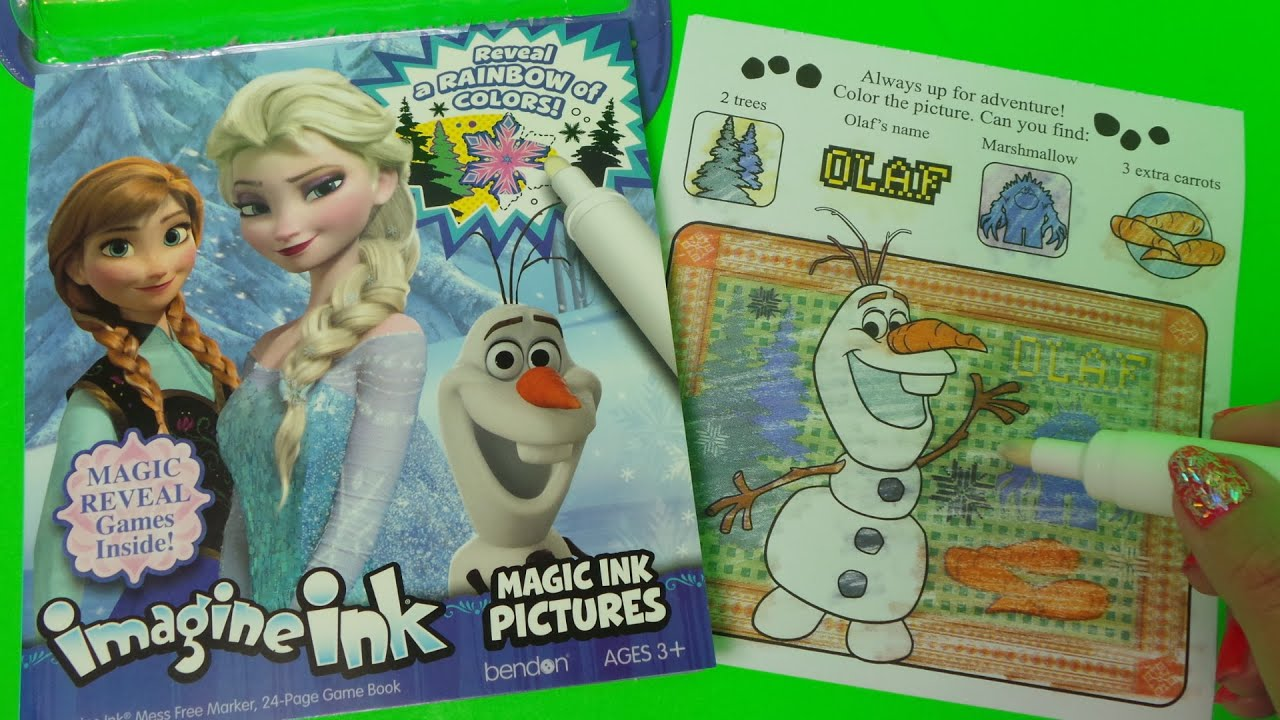 Imagine Ink Disney FROZEN OLAY Snowman A magic ink picture - YouTube