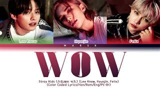 ENG|PT-BR Stray Kids 스트레이 키즈 Lee Know, Hyunjin, Felix – Wow Color Coded Lyrics/Han/Romwidth=