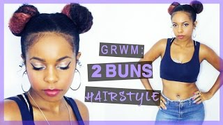 GRWM: 2 BUNS Hairstyle on Curly Hair (Space Buns⎜Natural Hair)
