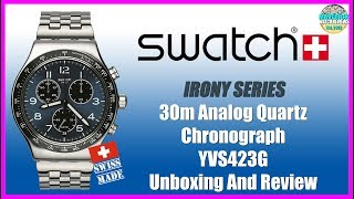 Some 80's Love! | Swatch Irony 30m Analog Quartz Chronograph YVS423G Unbox & Review