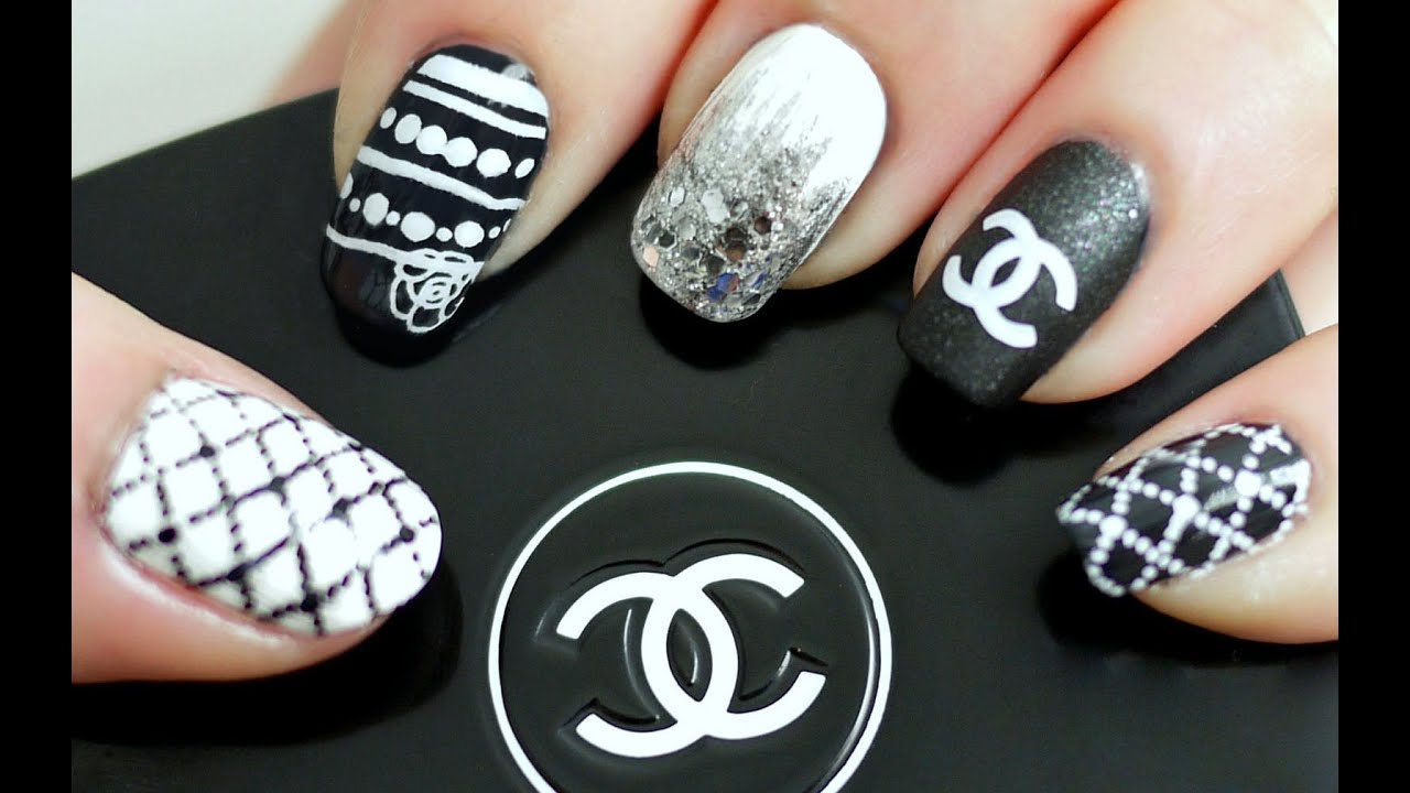 Black White Chanel Inspired Nail Tutorial Konad Stamping Youtube
