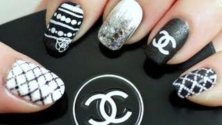 Black & White Chanel Inspired Nail Tutorial (Konad Stamping)