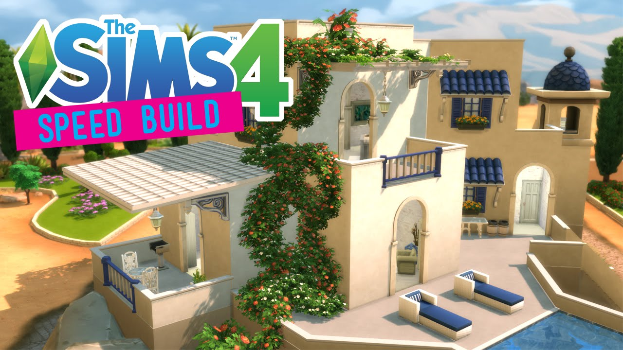 The Sims 4 Speed Build Santorini Villa No Cc Youtube