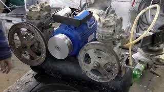 Воздушный компрессор ЗИЛ 130 в гараже.  Сборка и пробный запуск.