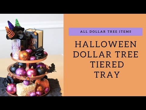 HALLOWEEN DOLLAR TREE TIERED TRAY | ALL DOLLAR TREE ITEMS | Decorate with Me