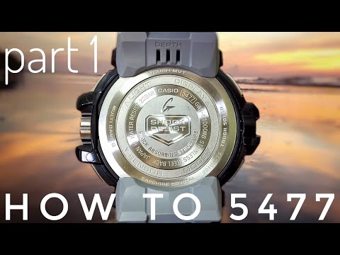 Casio 5477 Module - Quad Sensor G-Shock Gulfmaster watch set-up & basic complications demo | PART 1