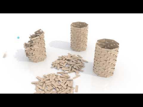 Maya Bullet Physics Simulation demolition of 5 towers HD