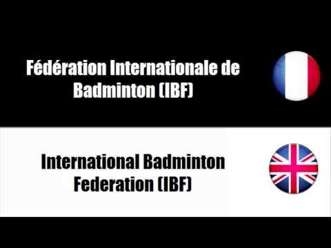 Vocabulaire badminton anglais
