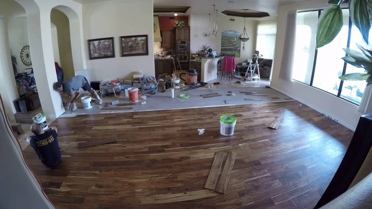 Glue Down Engineered Wood Floor Conctete Time Lapse