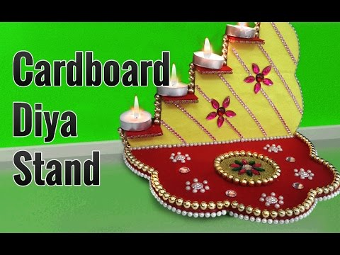 Learn how to make beautiful diya stand from cardboard on for Diya decoration youtube