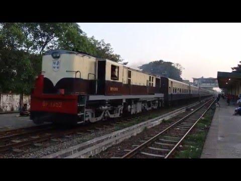 MYANMAR RAILWAYS EXPRESS TRAIN 3UP ミャンマー国鉄マンダレー急行 マラゴン駅通過