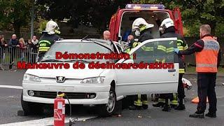 Démonstration sapeurs-pompiers : Manoeuvre de désincarcération