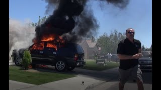 Insane CAR FIRE Caught on Video! - Bakersfield, CA 05-21-17