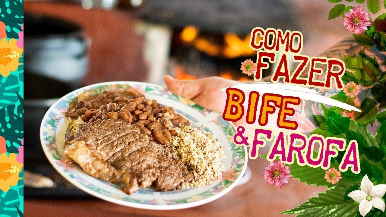 Como fazer Bife e Farofa (como fazer farofa de bacon) - CXansei de ser chef