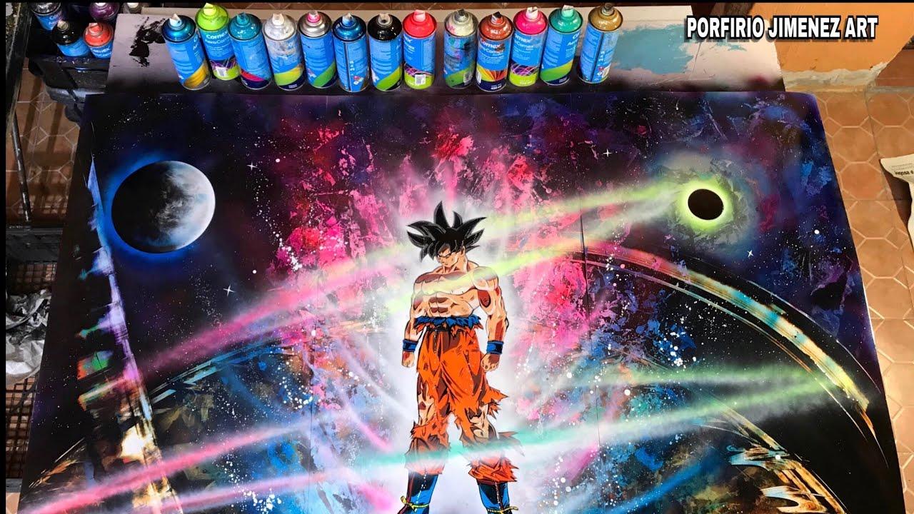 son goku ultra instinct spray paint art stencil