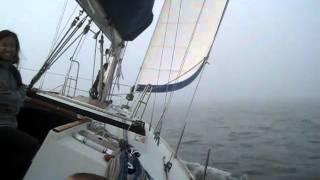 Sailing through dense fog in SF bay