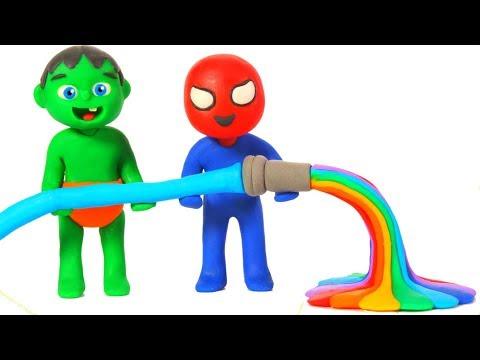 SUPERHERO BABIES MAKE RAINBOW WATER ❤ SUPERHERO PLAY DOH CARTOONS FOR KIDS