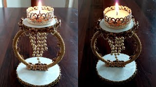 DIWALI Special DIYA STAND making at home using CARDBOARD - CANDLE HOLDER decoration ideas  !