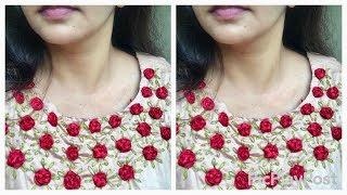 Satin ribbon rose work/സ്റ്റിച്ച് ചെയ്ത ചുരിദാറിനു ഒരു stylish makeover