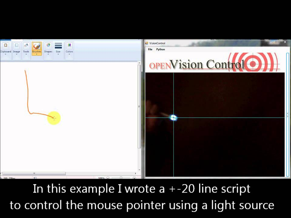 mouse pointer control by tracking light - YouTube