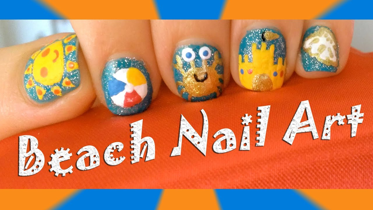 ☼Spring and Summer Beach Nail Art Designs- Cute Sun, Beach Ball, Crab, Sand  Castle and Sea Shell☼ - YouTube - ☼Spring And Summer Beach Nail Art Designs- Cute Sun, Beach Ball